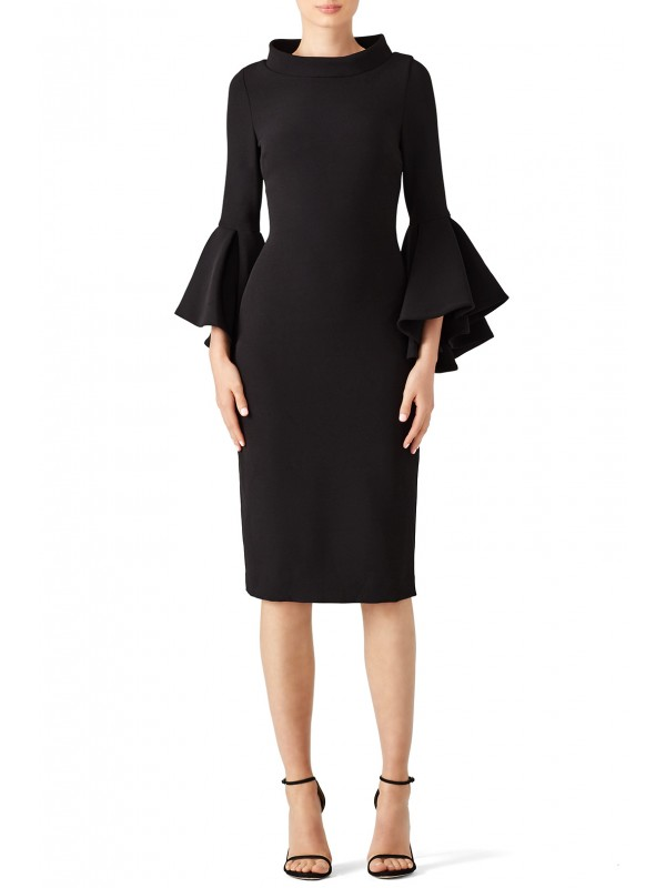 Black Bell Sleeve Sheath
