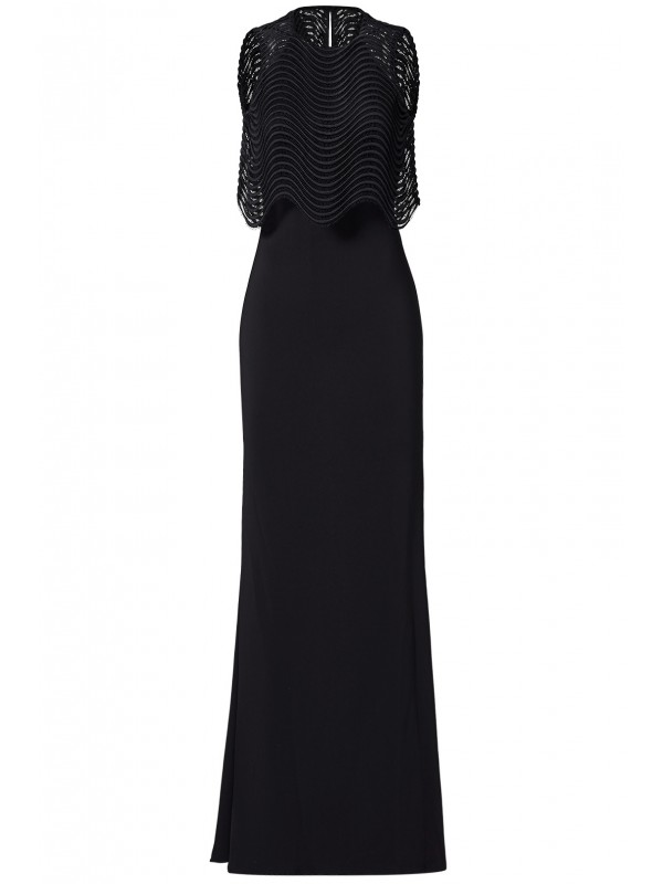 Black Jennifer Wave Popover Gown