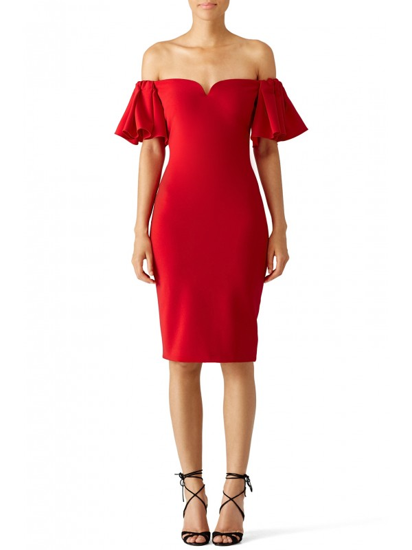 Red Off Shoulder Ruffle Dress