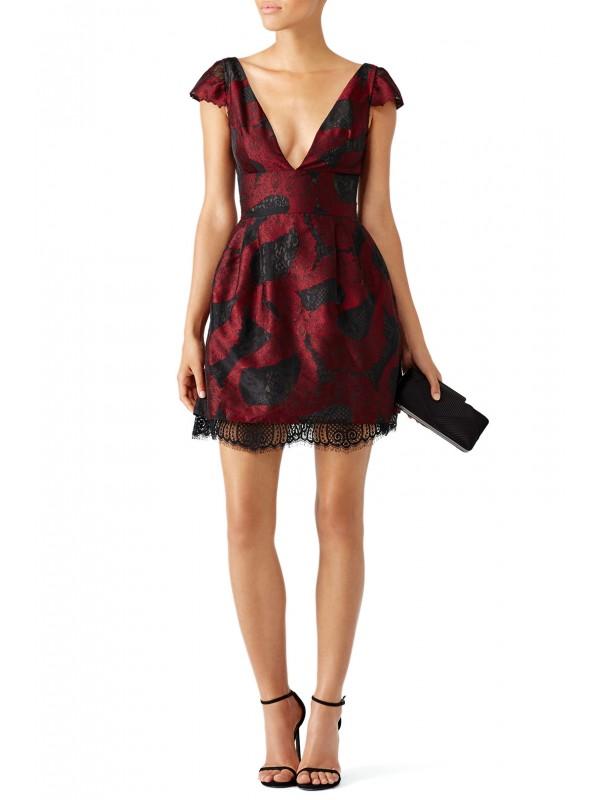 Bordeaux Peeking Lace Dress