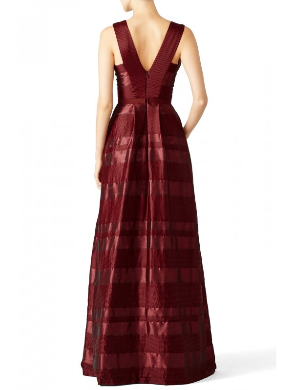 Bordeaux Satin Stripe Gown