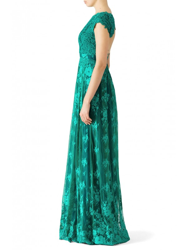 Green Floral Lace Gown