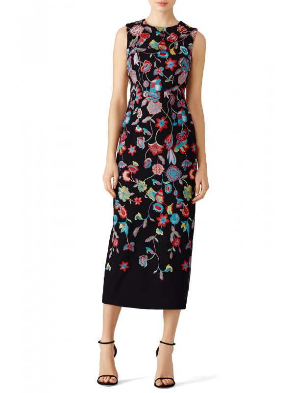 Multi Floral Embroidered Dress