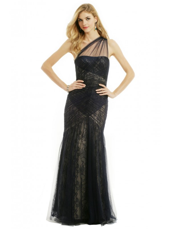 Navy Tulle To Lace Gown