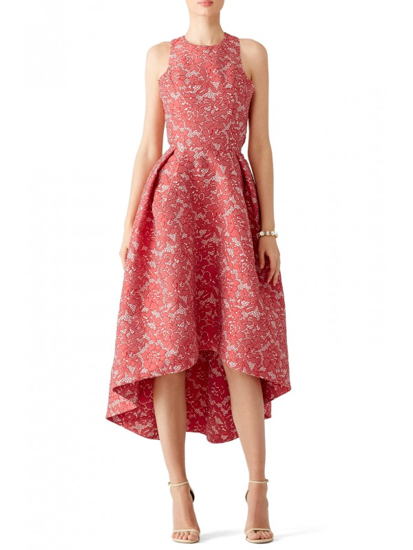 Red Abstract Floral Dress