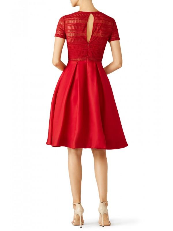 Red Contrast Top Ballerina Dress