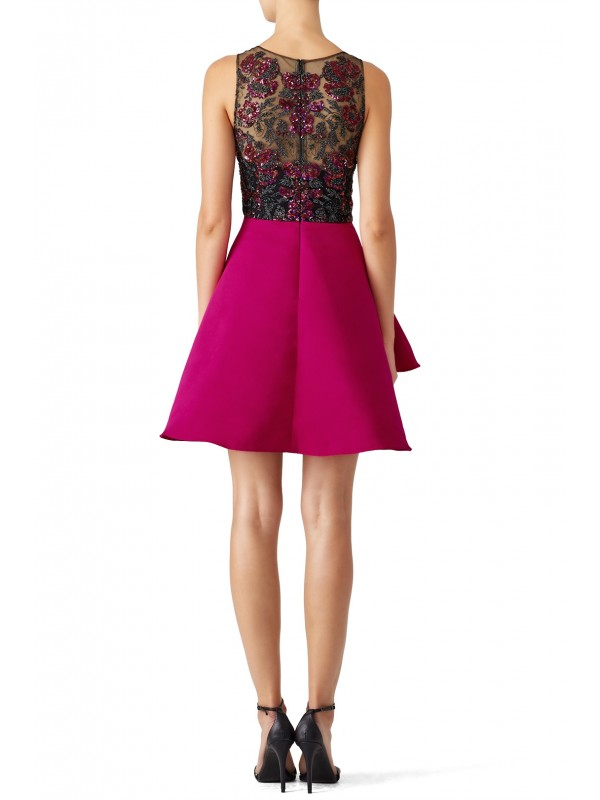 Fuchsia Embroidered Cocktail Dress