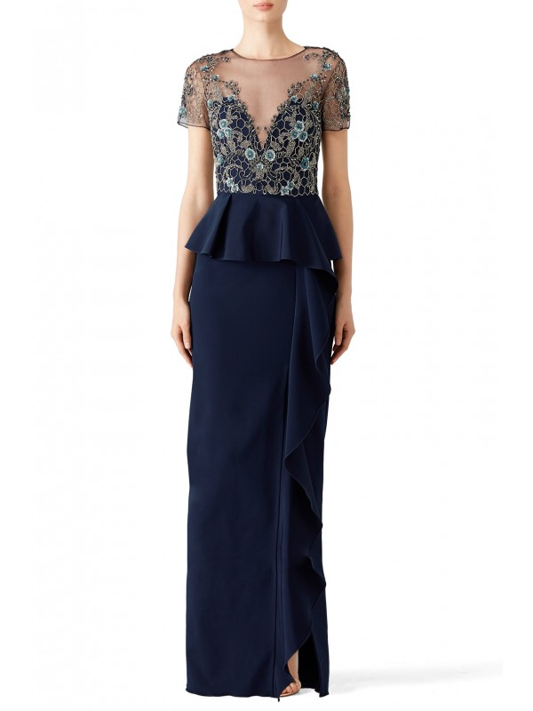 Navy Lace Ruffle Gown