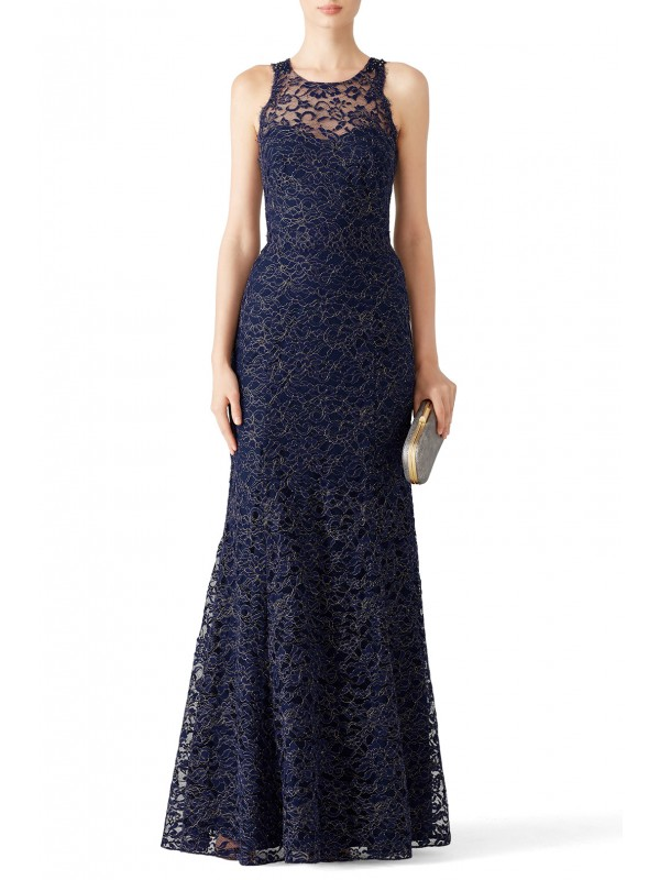 Navy Metallic Lace Gown