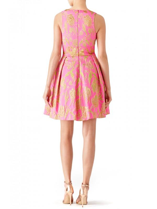 Pink Metallic Floral Dress