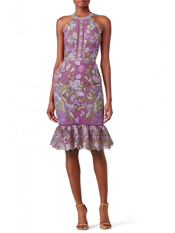 Purple Lace Flounce Sheath