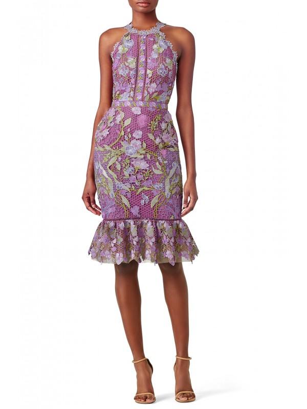 Purple Lace Flounce Sheath