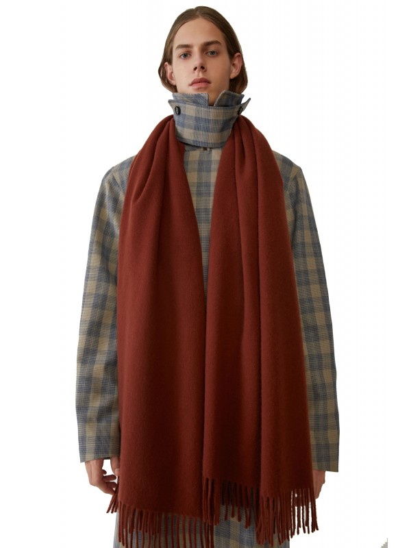 Fringed scarf brown