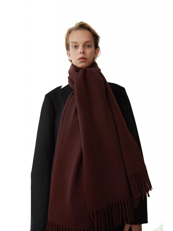 Fringed scarf dark wine
