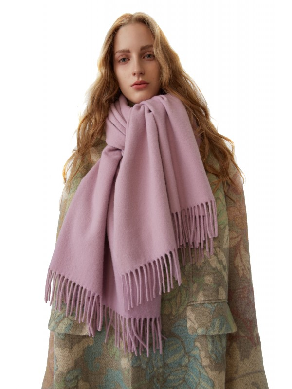 Fringed scarf lilac purple