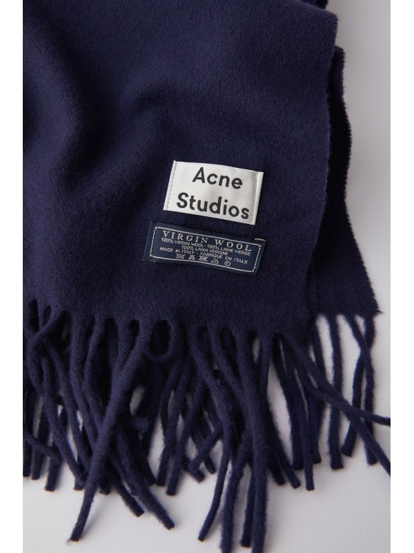 Fringed scarf navy