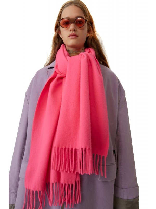 Fringed scarf pink fluo pink