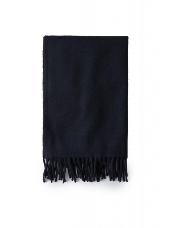 Narrow fringed scarf black