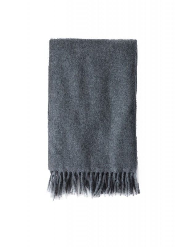 Narrow fringed scarf grey melange