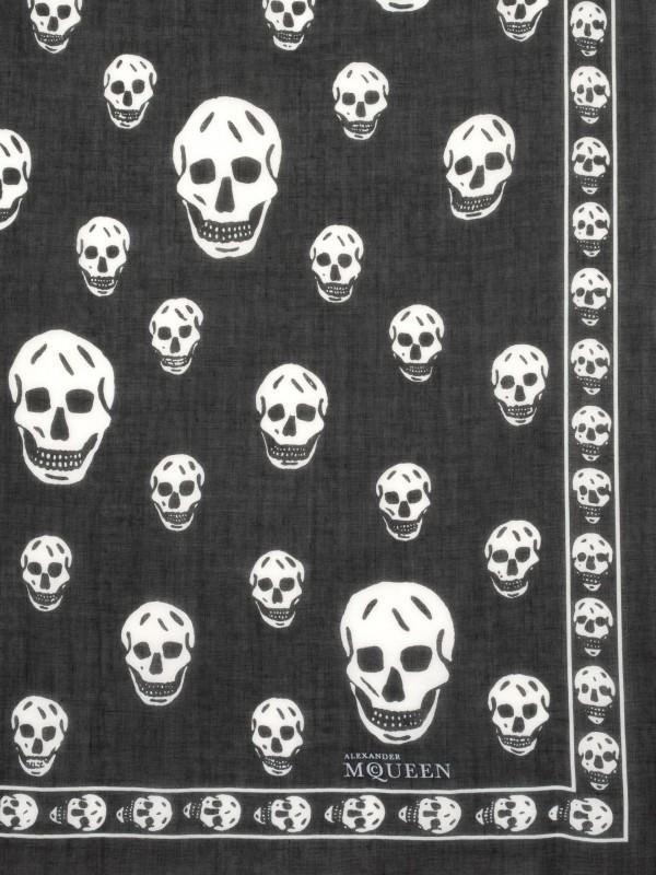 Classic Silk Chiffon SKULL Scarf Black