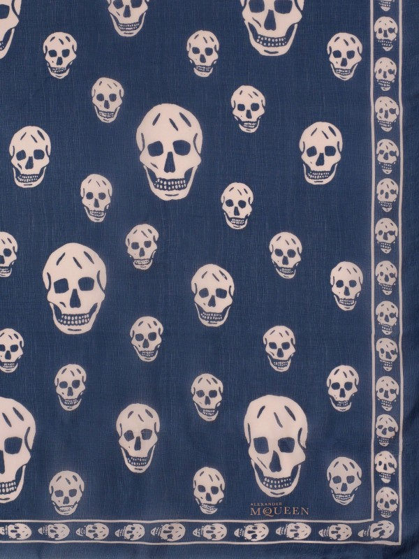 Classic Silk Chiffon SKULL Scarf Blue