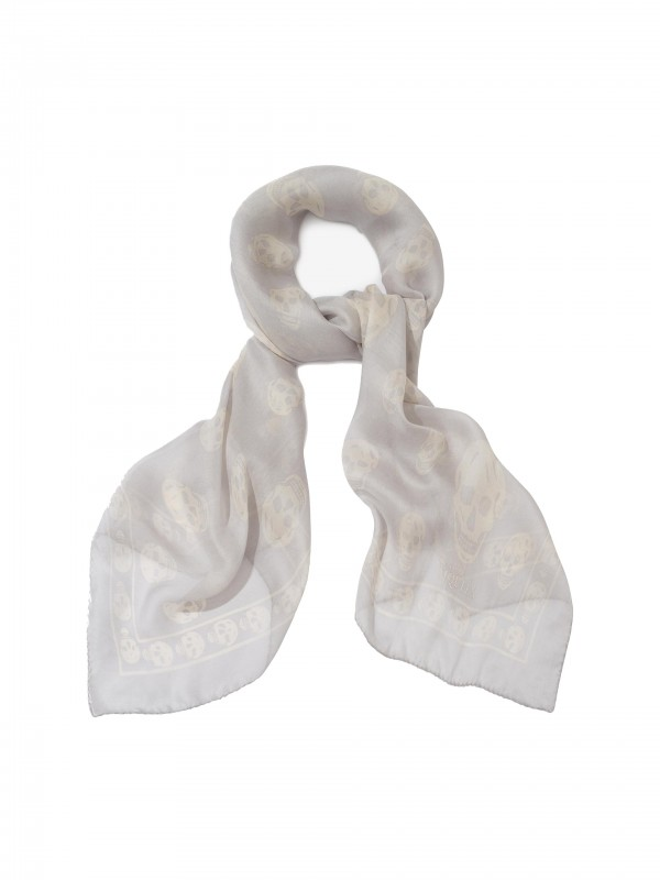 Classic Silk Chiffon SKULL Scarf Grey