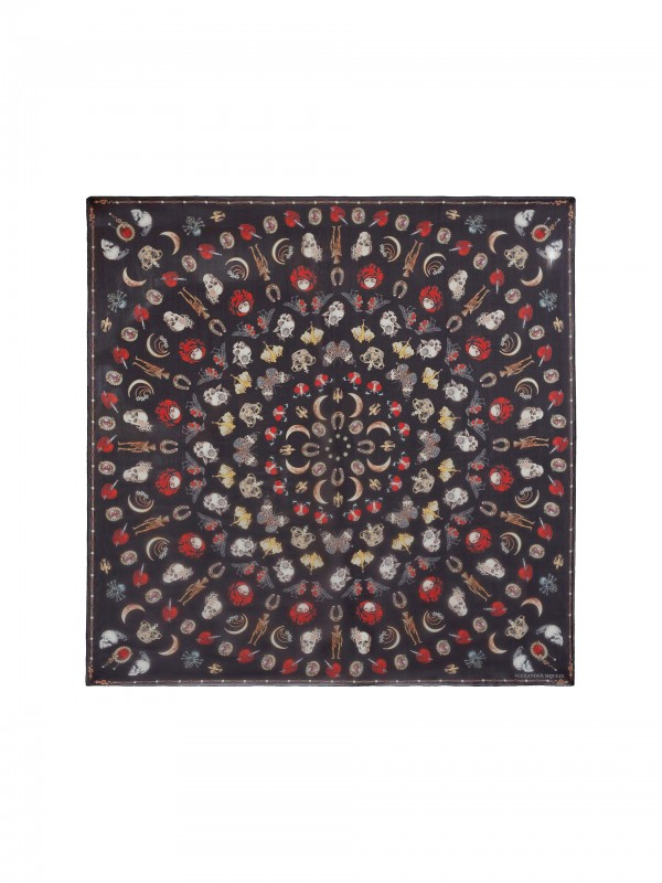 Jewelry decorated chiffon scarf black