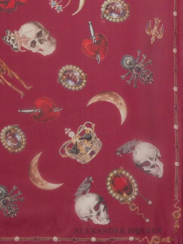 Jewelry decorated chiffon scarf red