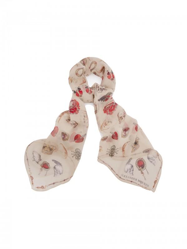 Jewelry decorated chiffon scarf white
