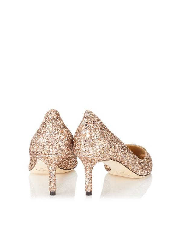 JIMMY ROMY  60 Ballet Pink Shadow Coarse Glitter Fabric Pointy Toe Pumps