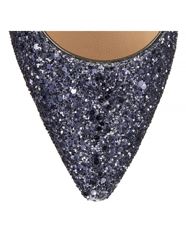 JIMMY ROMY  85 Navy and Silver Coarse Glitter Degrade Pointy Toe Pumps