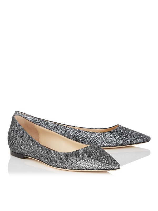 JIMMY ROMY FLAT Anthracite Lame Glitter Fabric Pointy Toe Flats