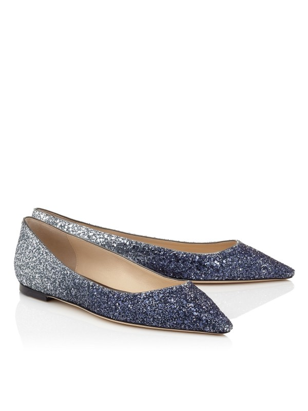 JIMMY ROMY FLAT Navy and Silver Coarse Glitter Deg...