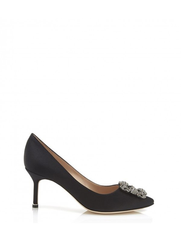 MANOLO HANGISI 70 Black Satin Jewel Buckled Pumps