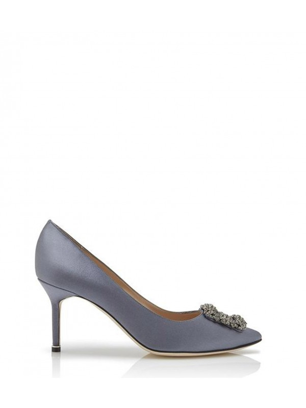 MANOLO HANGISI 70 Grey Satin Jewel Buckled Pumps