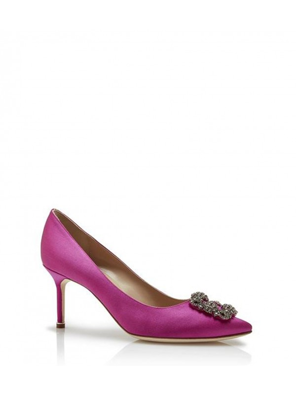 MANOLO HANGISI 70 Pink Satin Jewel Buckled Pumps