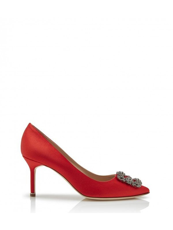 MANOLO HANGISI 70 Red Satin Jewel Buckled Pumps