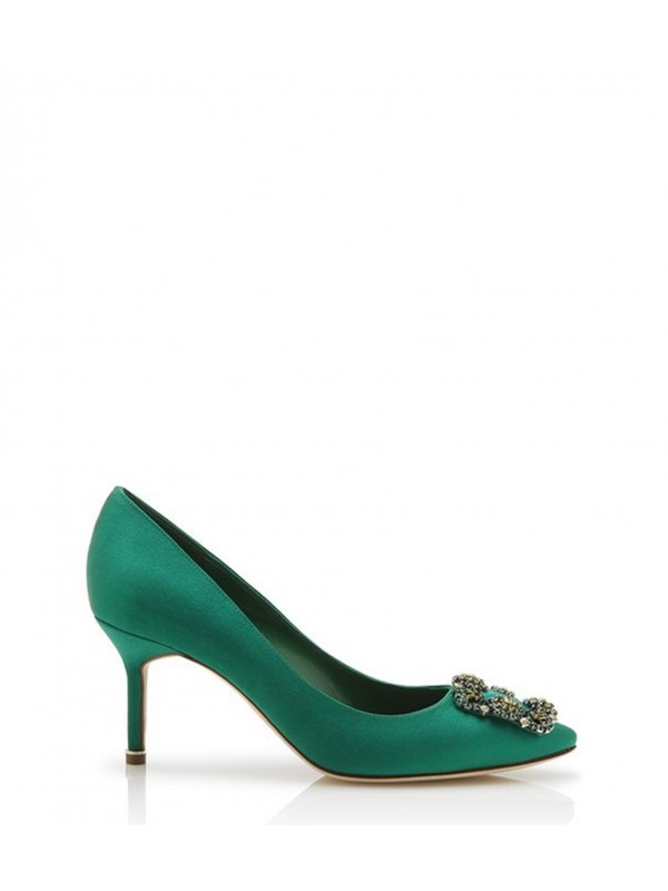 MANOLO HANGISI BIS 70 Green Satin Jewel Buckled Pu...