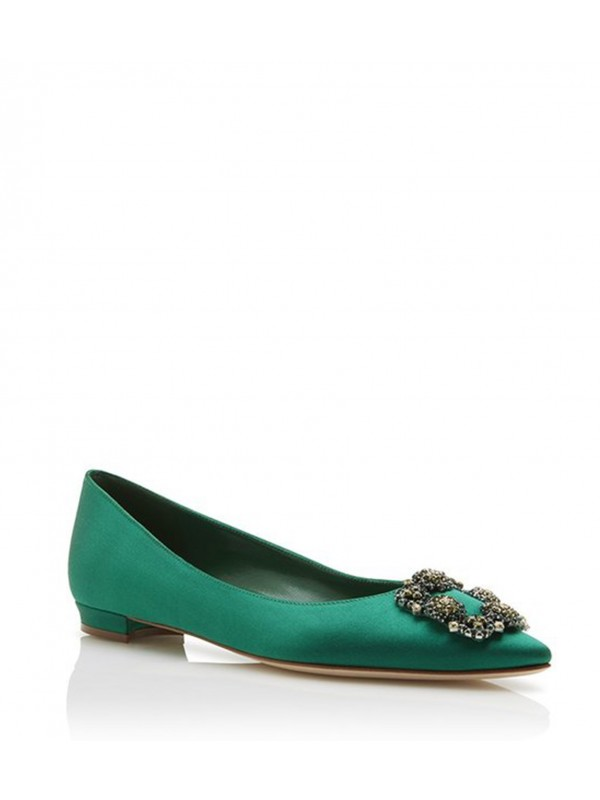 MANOLO HANGISI FLAT BIS Green Satin Jewel Buckled ...