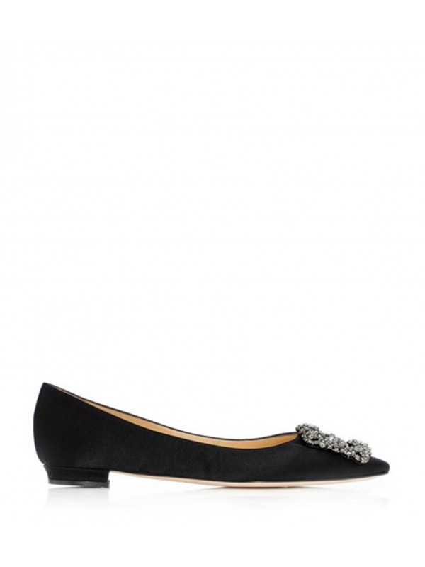 MANOLO HANGISI FLAT Black Satin Jewel Buckled Flat...