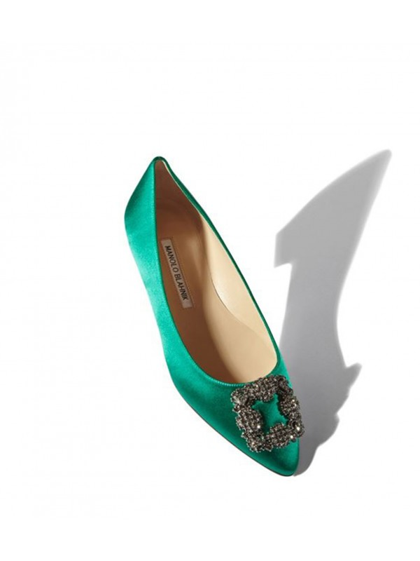 MANOLO HANGISI FLAT Green Satin Jewel Buckled Flat...