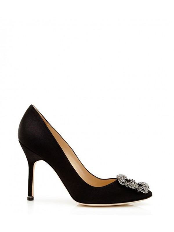 MANOLO HANGISI Black Satin Jewel Buckled Pumps