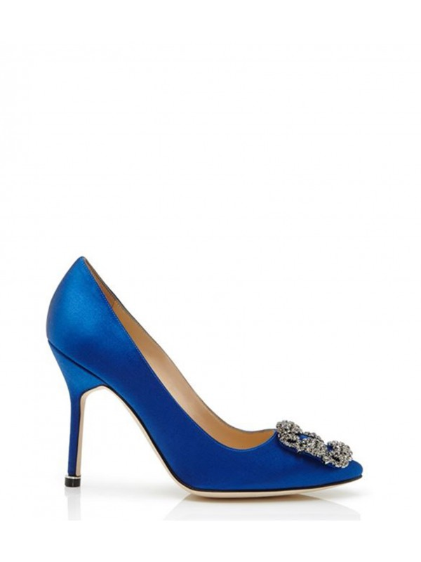 MANOLO HANGISI Blue Satin Jewel Buckle Pumps