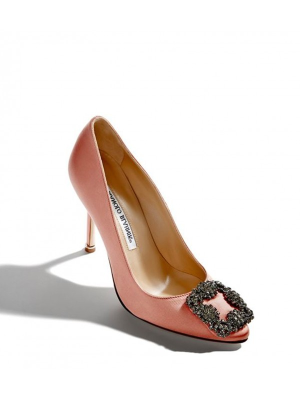 MANOLO HANGISI Coral Satin Jewel Buckled Pumps