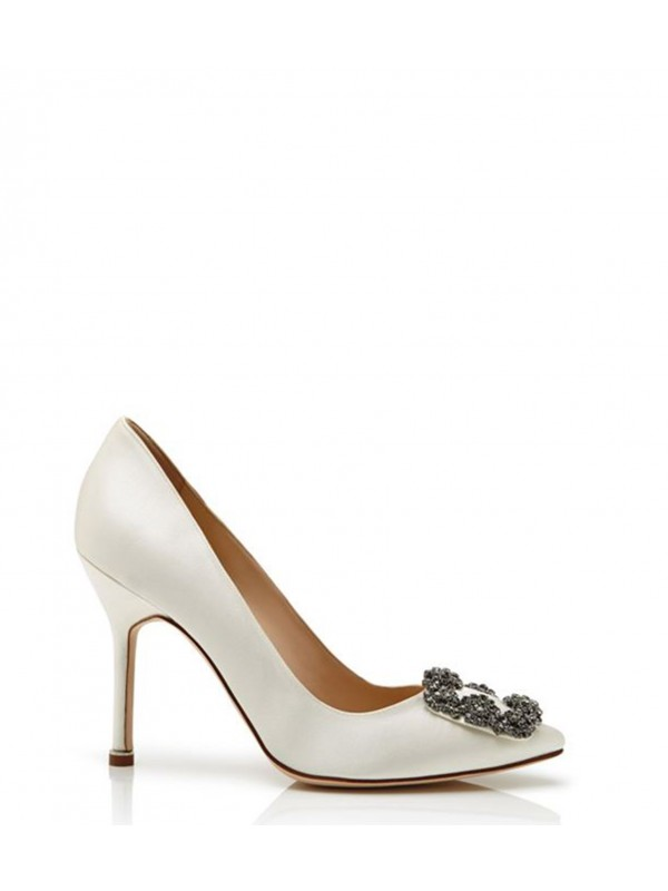 MANOLO HANGISI Off-White Satin Jewel Buckled Pumps