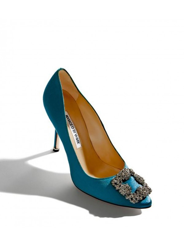 MANOLO HANGISI Petrol Satin Jewel Buckled Pumps
